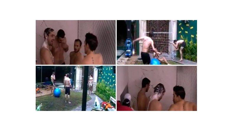 La tarde hot de los chicos de GH: juego en el barro y baño multitudinario
