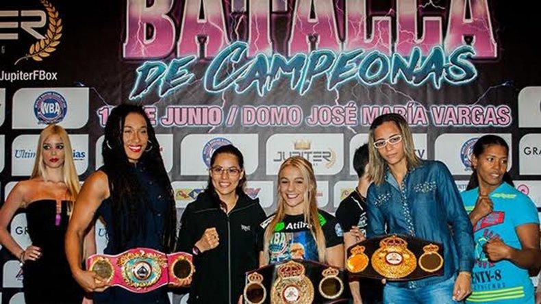 Nancy Franco y Yésica Bopp –derecha- realizarán esta tarde el pesaje para la pelea de mañana.