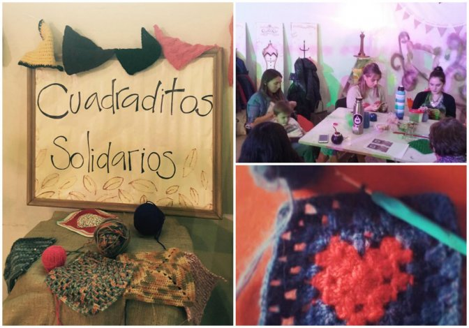 Mujeres tejen cuadraditos solidarios y arman mantas para donar