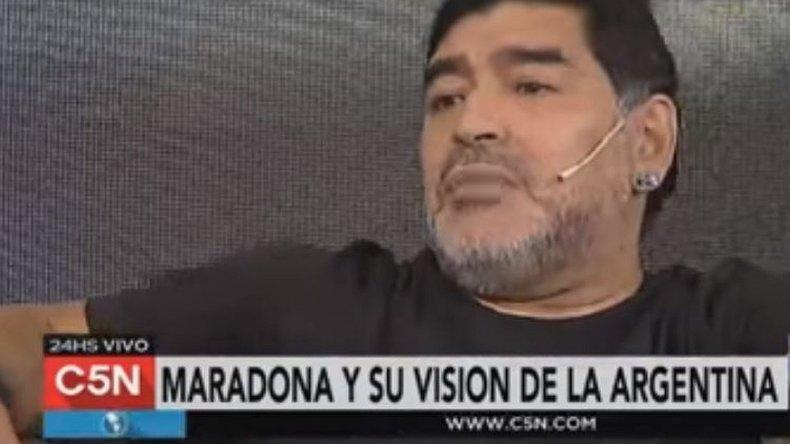 Diego Maradona en C5N: veo una Argentina de rodillas