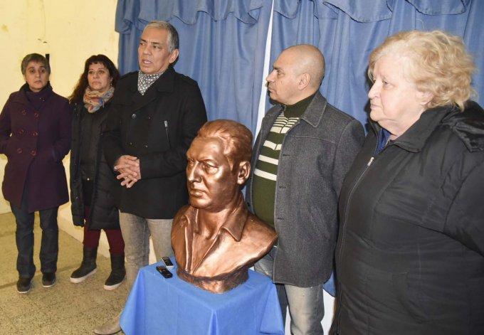Jorge Soloaga fue el único orador en el acto de homenaje que se rindió al general Perón en Cañadón Seco.