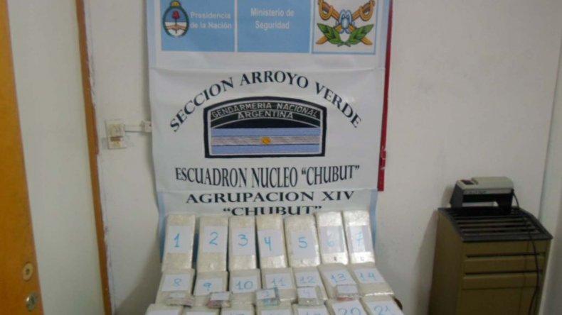 El cargamento de drogas incautado por Gendarmería Nacional.