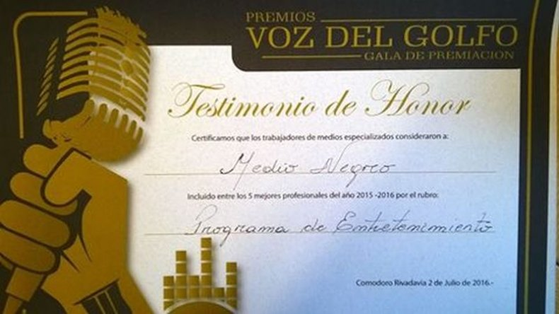 Diploma de nominación a los Premios Del Golfo
