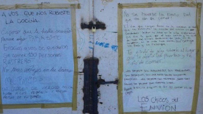 La carta de los chicos de un comedor a un ladrón: Por vos nos quedamos sin alimento