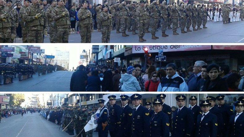 Comenzó el gran desfile cívico militar en el centro de Comodoro