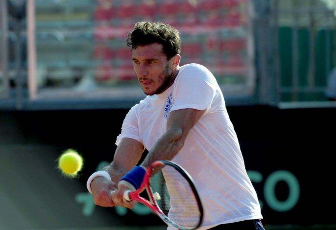 El tandilense Juan Pico Mónaco en la práctica de ayer en Pesaro.