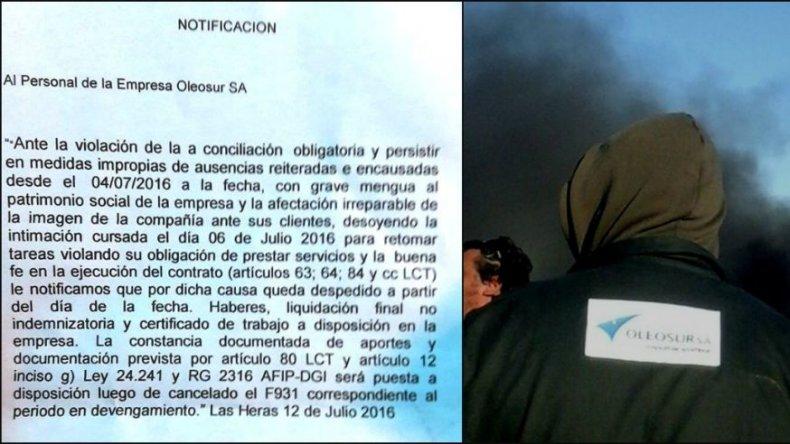 Trabajadores de Oleosur mantienen una retención de servicios en Las Heras
