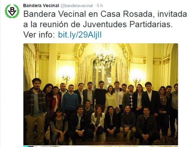 El twit del Partido Bandera Vecinal que confirma la presencia en Casa Rosada.