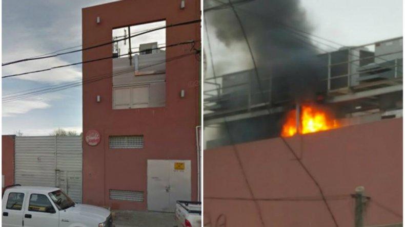 Solo un susto: se incendió el techo de un edificio de telefonía