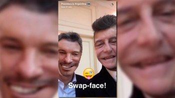 Macri y Tinelli intercambiaron rostros en Snapchat