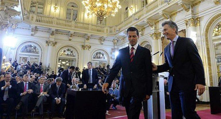 Macri recibió a Peña Nieto en la Casa Rosada.