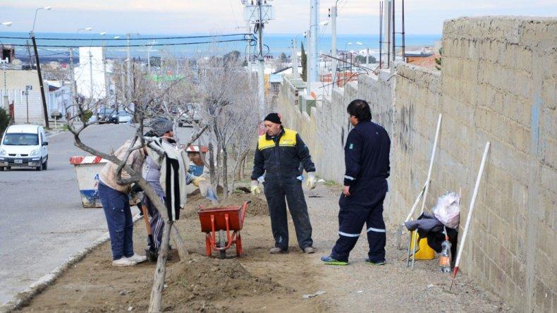 Personal municipal trabaja en el mantenimiento y reparación del cementerio Oeste y sus veredas externas.