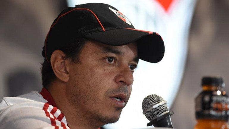 Marcelo Gallardo durante la conferencia de prensa que brindó ayer.
