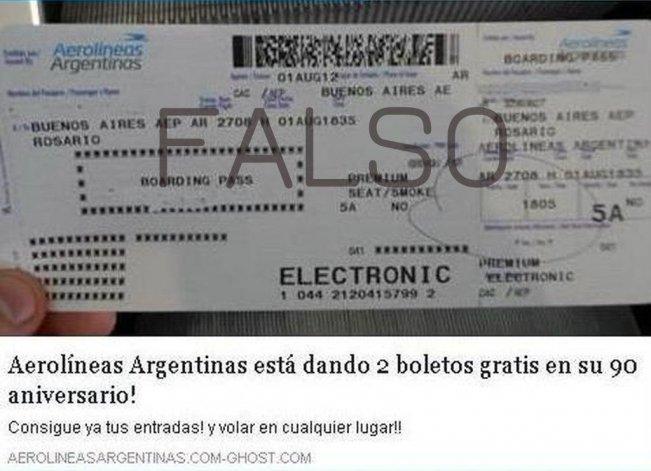 Desde Aerolíneas Argentinas desmintieron que estén regalando pasajes