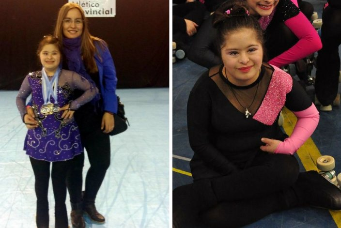Camila, la nena a la que le habían robado los patines, brilló en Rosario