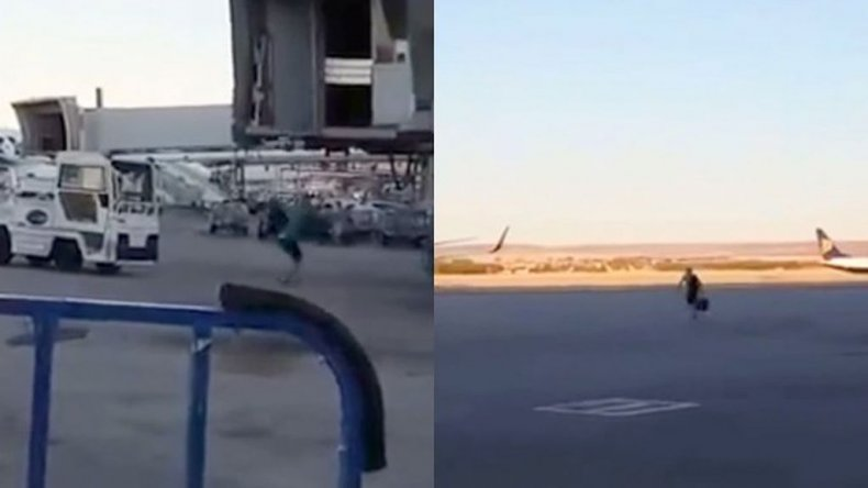 Perdía el vuelo y tuvo una reacción desesperada: ¡Mirá el video!