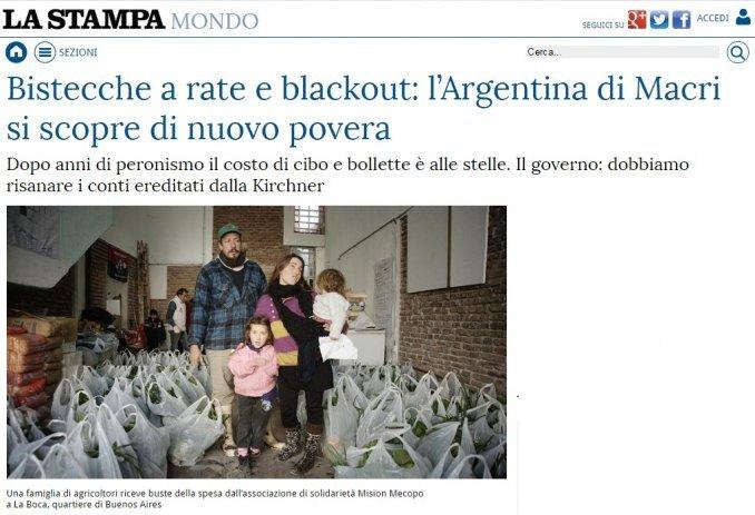 Diario italiano habla de los bifes en cuotas y la pobreza que regresó con Macri