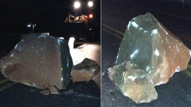 Un peligro: desprendimiento de rocas sobre Ruta 40