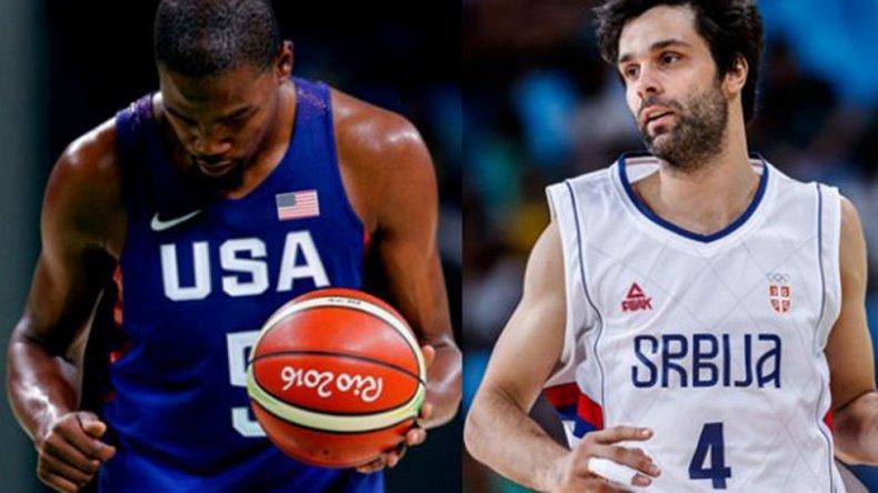 El estadounidense Kevin Durant y el serbio Milos Teodosic.