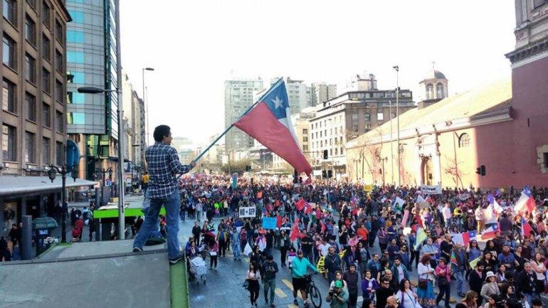 La movilización de los manifestantes sobre La Alameda