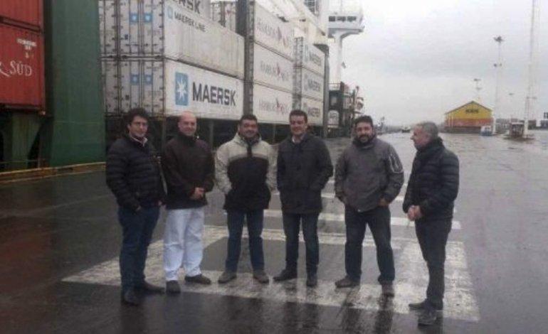 El desembarco del cargamento de 220 toneladas que permanecerá en Puerto Deseado fue presenciado por el titular de la empresa Cerámica Austral y por funcionarios tanto municipales como provinciales.