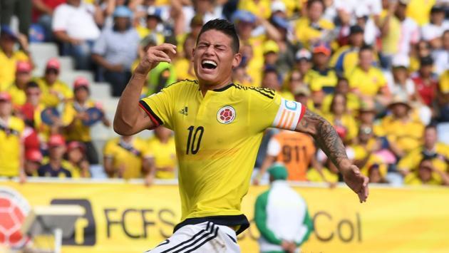James Rodríguez celebra su gol ante los venezolanos.