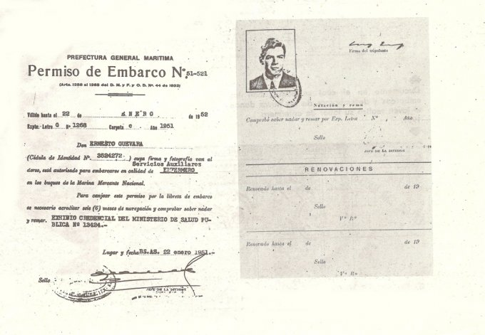 La tarjeta de permiso de embarque de Ernesto Guevara.