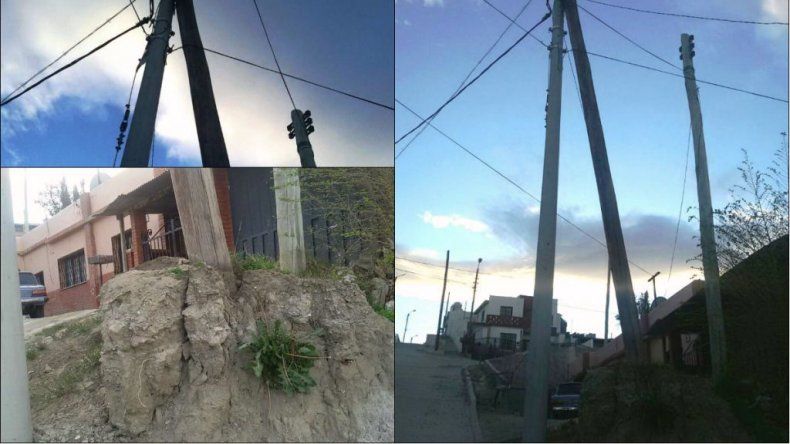 Preocupa un poste que podría caer sobre una casa