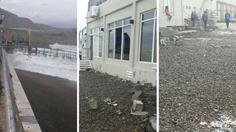La intensa marejada provocó roturas de vidrios y desprendimientos de escombros