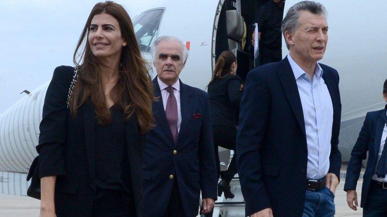 El presidente Mauricio Macri en su llegada a Nueva York junto a su esposa Juliana Awada.