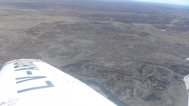 El recorrido aéreo que se realizó ayer desde Sarmiento.