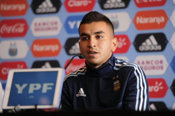 Angel Correa durante la conferenciad de prensa que brindó ayer de cara al partido de mañana ante Perú.