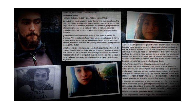 La emotiva carta del hermano de Lucía Pérez: ahora más que nunca, ni una menos