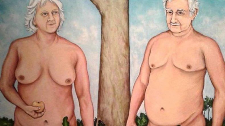 Ordenaron bajar un cuadro de Pepe Mujica y su esposa pintados
