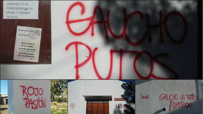 Indignación de vecinos de Ciudadela por pintadas en la iglesia