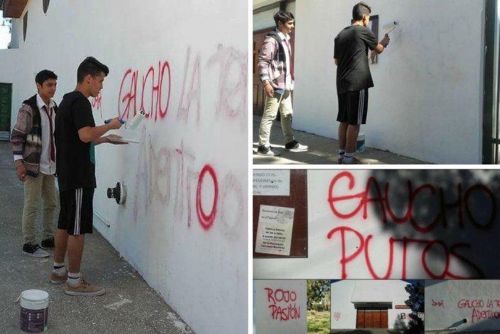 Hinchas del Gaucho arreglan las pintadas que sufrió la iglesia