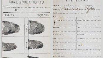 La ficha dactilar de Francisca Rojas que consagró al sistema de identificación de personas creado por Juan Vucetich.