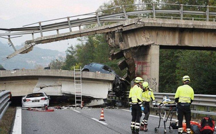 Un puente se desplomó en una ruta de Italia y mató a un hombre