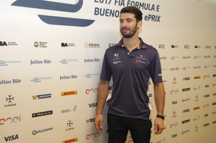 Pechito López durante la presentación ayer de la carrera de la Fórmula E que se correrá el próximo año en Puerto Madero.