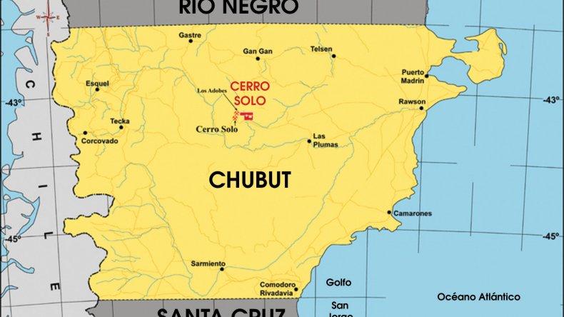 La ubicación del yacimiento en la meseta central chubutense.