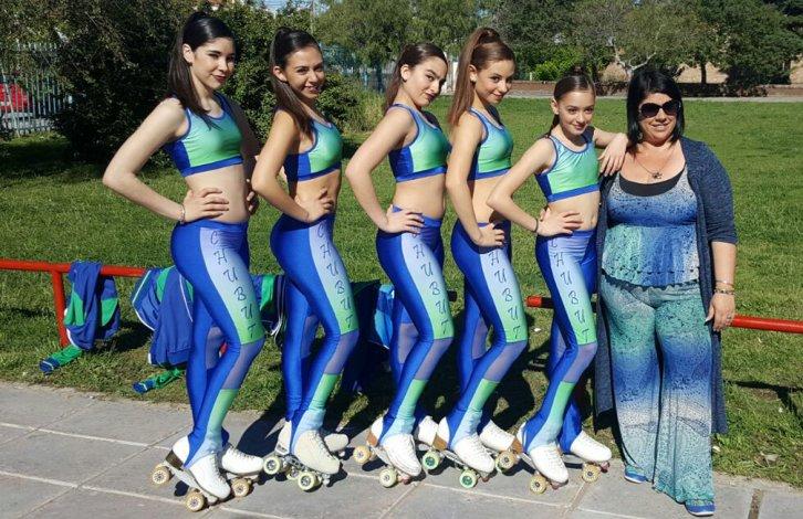 Las patinadoras de Rada Tilly junto a Celeste Garay fueron parte del seleccionado provincial en el Nacional en Neuquén.