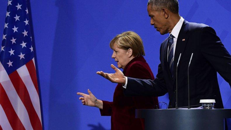 Conferencia de prensa de Obama junto a Angela Merkel.