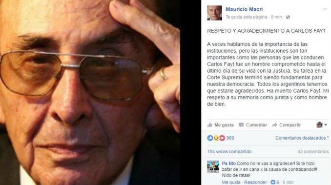 El mensaje de Macri por la muerte de Fayt: Mi respeto a su memoria