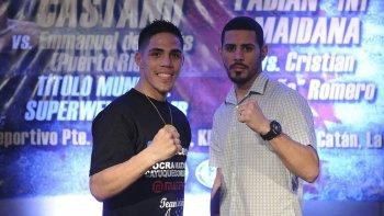 Brian Castaño y Emmanuel De Jesús durante la presentación de la pelea que se realizará mañana.
