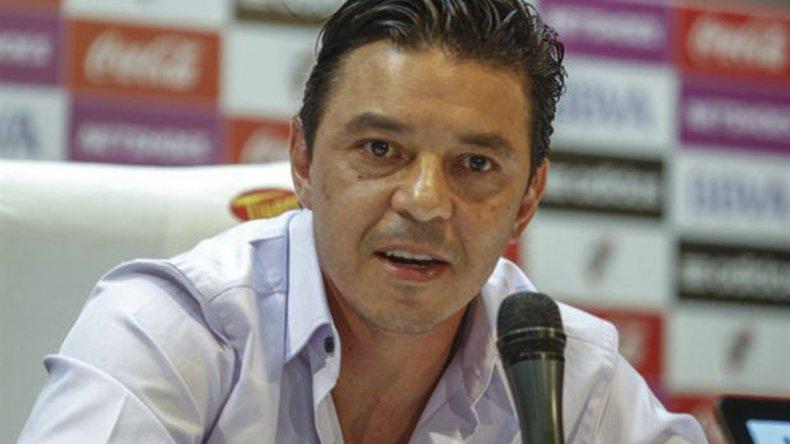 Marcelo Gallardo durante la conferencia de prensa que brindó ayer en Ezeiza.