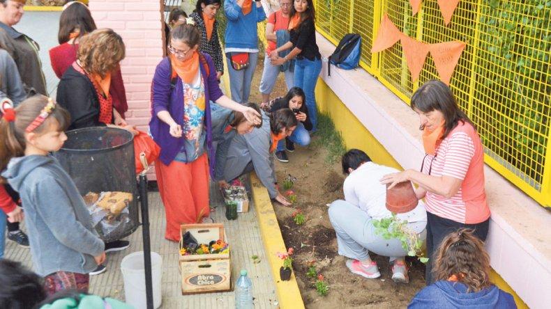 Plantaron 38 plantines para representar a 38 mujeres asesinadas en Comodoro.