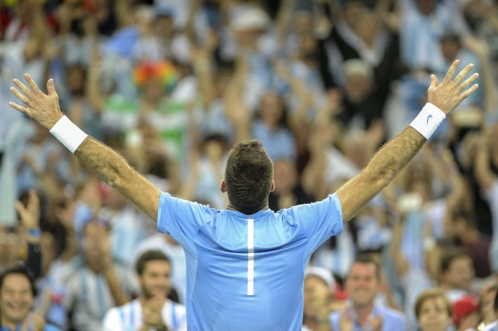 Juan Martín Del Potro consiguió el segundo punto para que Argentina igualase la serie con Croacia. Después vino el festejo.