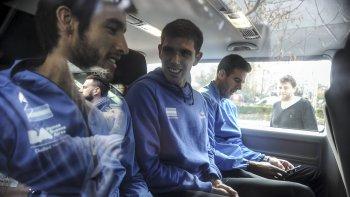 Leonardo Mayer, Federico Delbonis y Juan Martín Del Potro, integrantes del equipo argentino de Copa Davis que el domingo hizo historia en Zagreb.