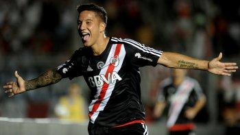 Sebastián Driussi marcó anoche el primer gol en la victoria de River ante Gimnasia en San Juan.