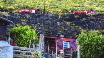 El fuego arrasó con un amplio sector del cerro, pero no alcanzó a afectar a las viviendas.